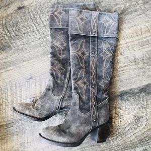 SESTO MEUCCI Grey Embroidered Suede Boots Size 8